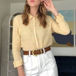 90's Texture Yellow Button Up